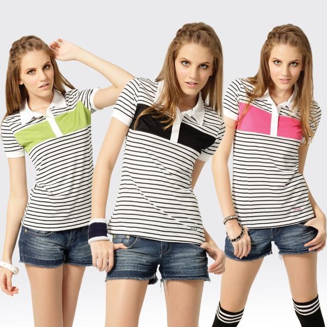 【SAMLIX 山力士】女款 MIT 台灣製 韓版 吸濕排汗 涼感 羅紋領 短袖  POLO衫#SP208(綠色.桃紅.黑色)