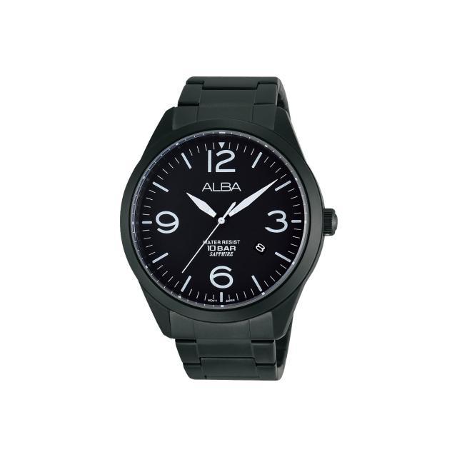【ALBA】街頭玩酷時尚藍寶石水晶腕錶-IP黑/44mm(VJ42-X126SD AS9763X1)