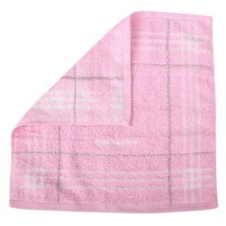 【BURBERRY】經典格紋LOGO純棉方巾/毛巾(粉紅)