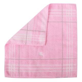 【BURBERRY】經典格紋戰馬LOGO純棉方巾/毛巾(粉紅)