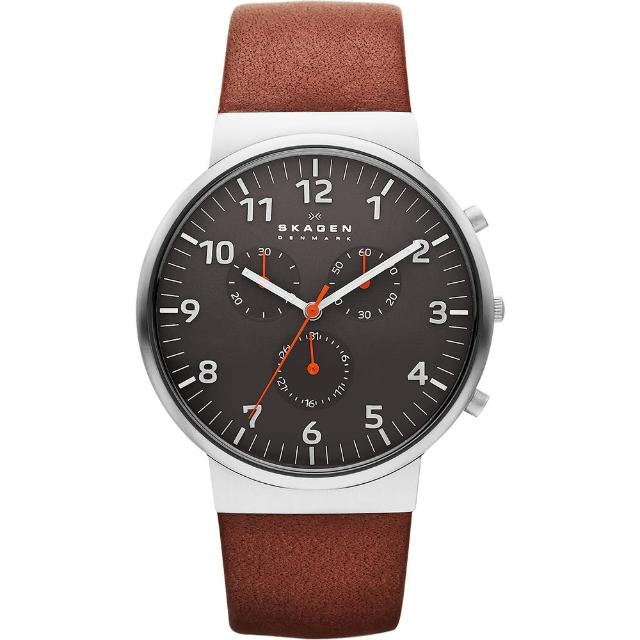 【SKAGEN】潮流時尚計時石英腕錶-灰x咖啡/40mm(SKW6099)