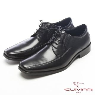 【CUMAR】真皮質感-紳士專屬真皮綁帶皮鞋(黑)