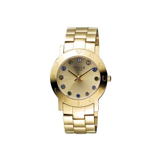 【VOGUE】繽紛彩色晶鑽腕錶-金/36mm(2V1407-121YG-YG)