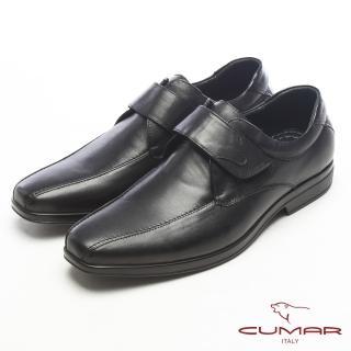 【CUMAR】超輕軟底-真皮魔術帶舒適皮鞋(黑)