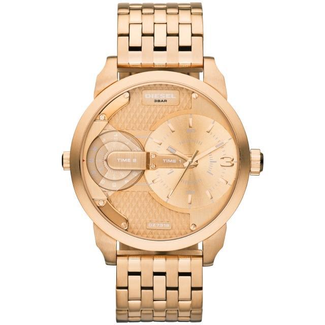【DIESEL】航行者二地時間個性時尚腕錶-玫瑰金(DZ7318)