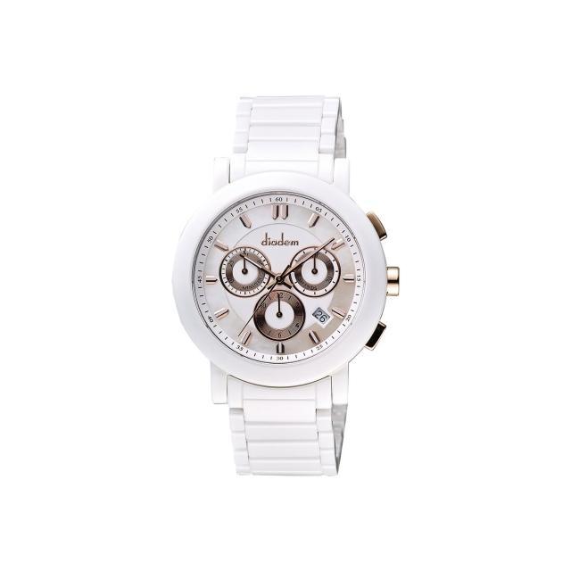【Diadem】黛亞登 都會三眼計時白陶瓷腕錶-珍珠貝x玫塊金/41mm(8D1407-631RG-W)