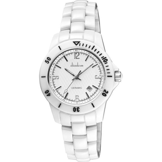 【Diadem】黛亞登 菱格紋雅緻白陶瓷腕錶-銀/35mm(8D1407-551S-W)