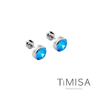 【TiMISA】璀璨晶鑽-水藍 純鈦耳環(一對)