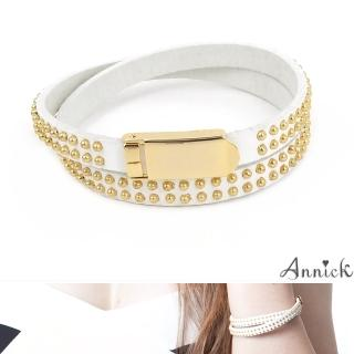 【Annick】Allison鉚釘易扣式真皮皮革雙圈手環(都會白)