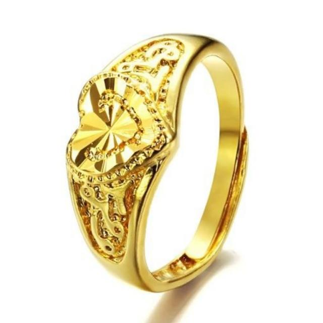 【I-Shine】金色時光-精鍍18K金 愛心雕刻開口戒指