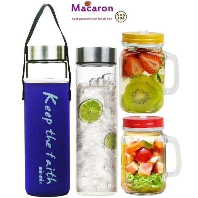 【玻璃水瓶組】馬卡龍寬口玻璃瓶附套550mlx2+SYG梅森杯500mlx2(4件隨機出貨)