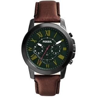 【FOSSIL】古典伯爵三環計時腕錶-綠(FS4939)