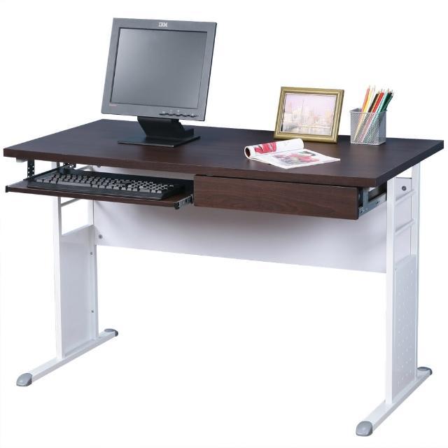 【Homelike】巧思辦公桌 亮白系列(胡桃加厚桌面120cm-附抽屜+鍵盤架)