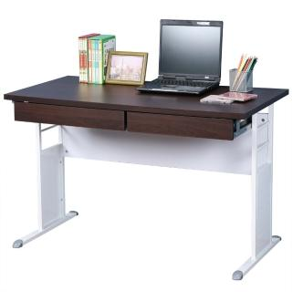 【Homelike】巧思辦公桌 亮白系列(胡桃加厚桌面120cm-附二抽屜)
