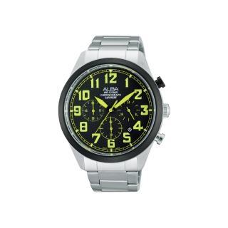 【ALBA】街頭玩酷時尚三眼計時腕錶-黑x綠時標/ 44mm(VD53-X170G  AT3595X1)
