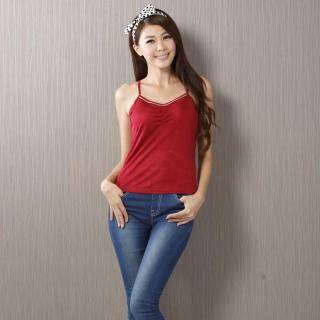 【BELLA SETA】100%蠶絲120G雙面綢釘珠肩帶可調背心(紅)