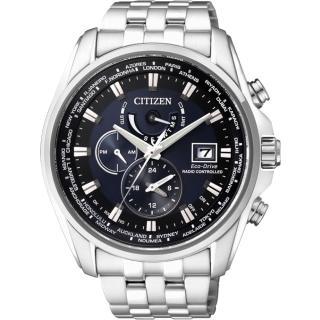 【CITIZEN】Eco-Drive 光動能電波計時腕錶-藍/44mm(AT9031-52L)
