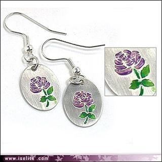 【伊飾炫銀】琺瑯紫玫瑰*純銀幣耳環