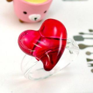 【伊飾童話】紅璃情深*心型玻璃戒指