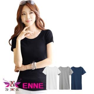 【ENNE】韓版百搭純色顯瘦修身圓領短袖棉T恤/四色