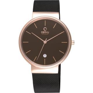 【OBAKU】純粹經典三針日期時尚米蘭腕錶-咖啡(V153GVBMB)