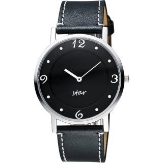 【STAR】藝術時尚簡約風情腕錶-黑/39mm(9T1407-431S-D)
