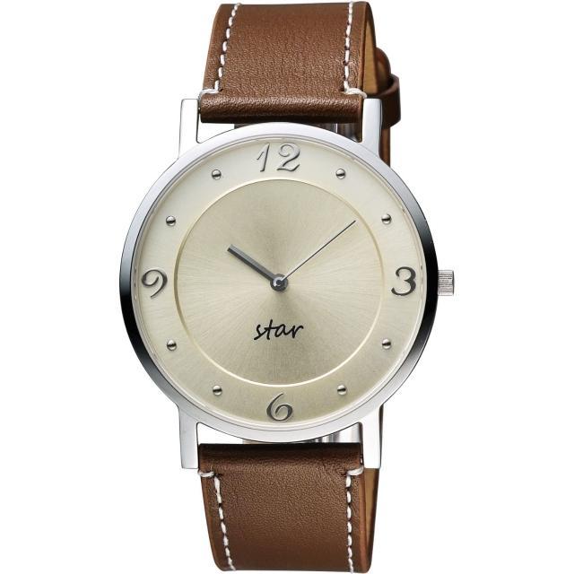 【STAR】藝術時尚簡約風情腕錶-淡金x咖啡/39mm(9T1407-431S-YG)
