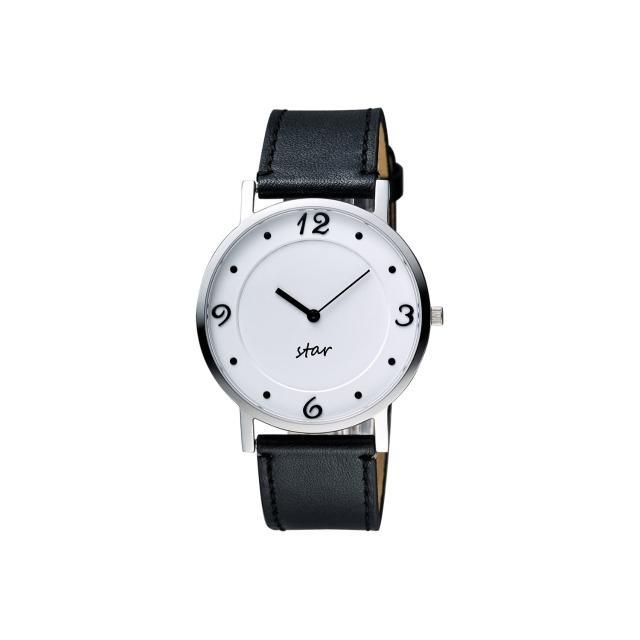 【STAR】藝術時尚簡約風情腕錶-白x黑/39mm(9T1407-431S-W)