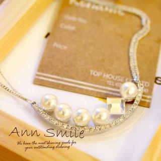 【微笑安安】韓製珍珠方晶圓弧項鍊(共2色)