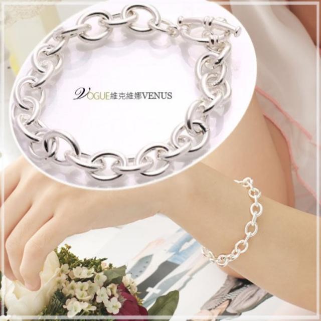 【維克維娜】純銀專櫃經典不敗款。亮面T扣圈環925純銀手鍊。鍊長18cm