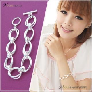 【維克維娜】潮流韓風。雙層橢圓寬版設計T扣925純銀手鍊