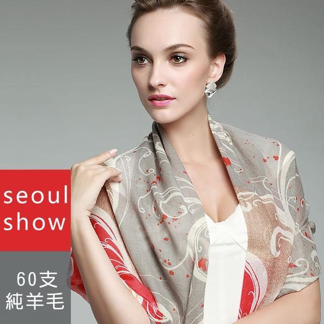 【Seoul Show首爾秀】60支紗波光漩渦舞動100%純羊毛圍巾披肩(防寒保暖)