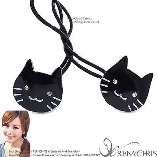 【Rena Chris】粉口愛水晶小貓咪 ˙雙頭髮束(BLACK)