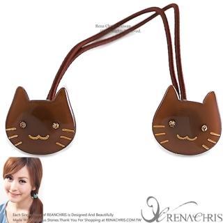 【Rena Chris】粉口愛水晶小貓咪 ˙雙頭髮束(BROWN)