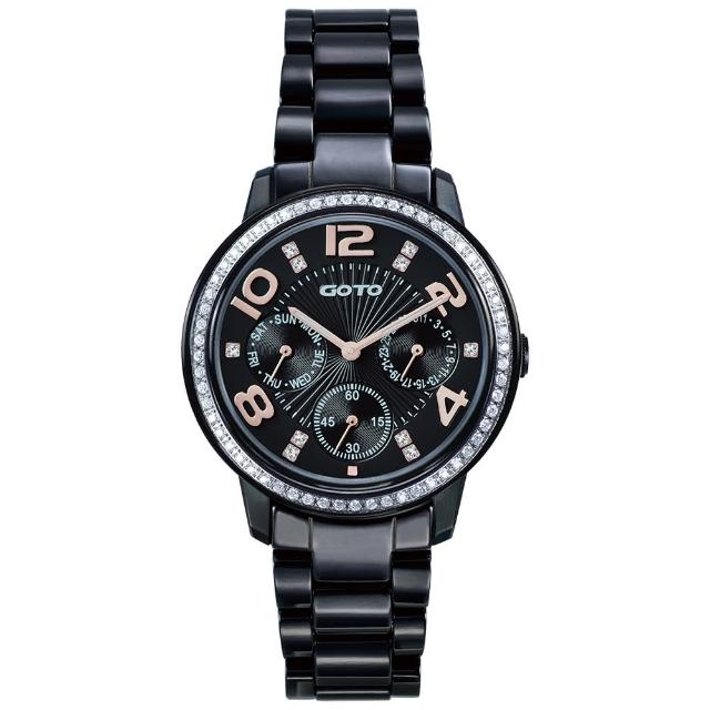 【GOTO】躍色純粹晶鑽陶瓷腕錶-IP黑x玫刻度(GC2106L-33-341)