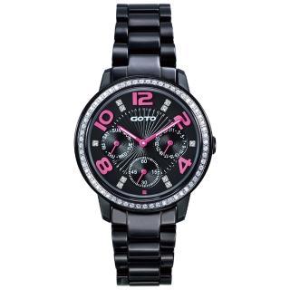 【GOTO】躍色純粹晶鑽陶瓷腕錶-IP黑x桃刻度(GC2106L-33-3F1)