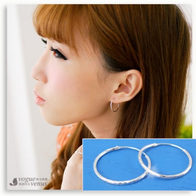 【維克維娜】一抹優雅。基本款細緻刻紋圈圈耳環。20mm。925純銀耳環