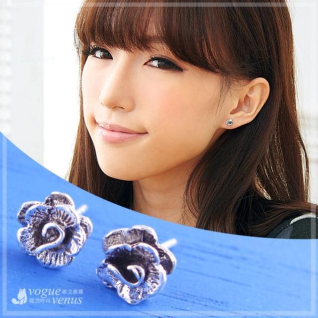 【維克維娜】春溢蔓延。古銀立體切割花瓣造型耳環。925純銀耳環