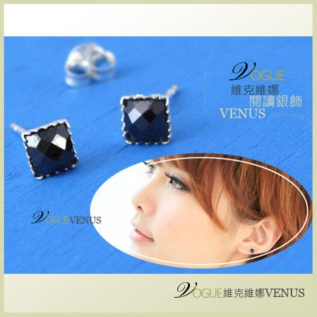 【維克維娜】炫麗個性。方型黑瑪瑙個性925純銀耳環