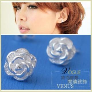 【維克維娜】美好正盛。山茶花造型925純銀耳環