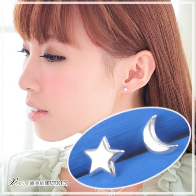 【維克維娜】銀色戀人。閃耀亮面星星月亮貼式耳環。925純銀耳環