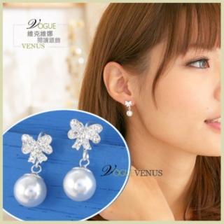 【維克維娜】潔白純淨。甜美水鑽白蝴蝶珍珠925純銀耳環