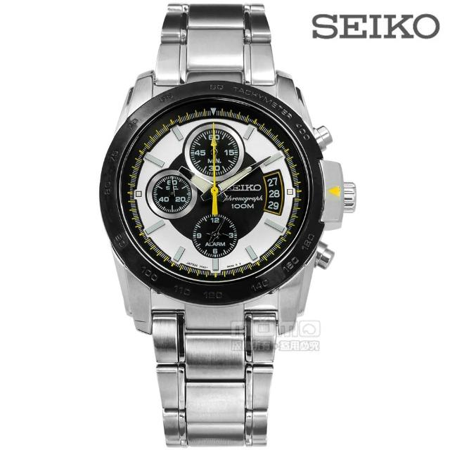 【SEIKO】三眼計時 藍寶石水晶玻璃 日期 防水100M 不鏽鋼手錶 銀x黑框 39mm(7T62-0HB0S.SNAB23J1)
