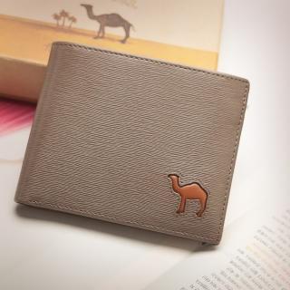 【CAMEL駱駝】西班牙經典真皮水波紋款8卡2照內拉鍊短夾(淺咖)