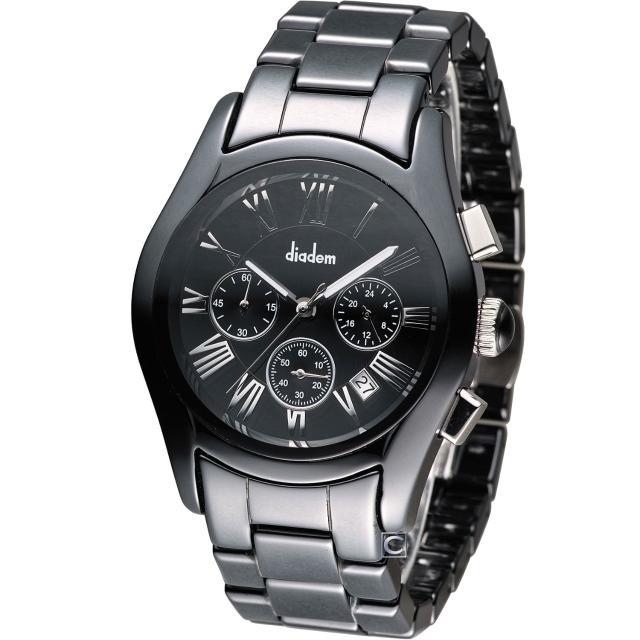 【Diadem】黛亞登 時尚紳士陶瓷計時腕錶(2D1407-621D-D)