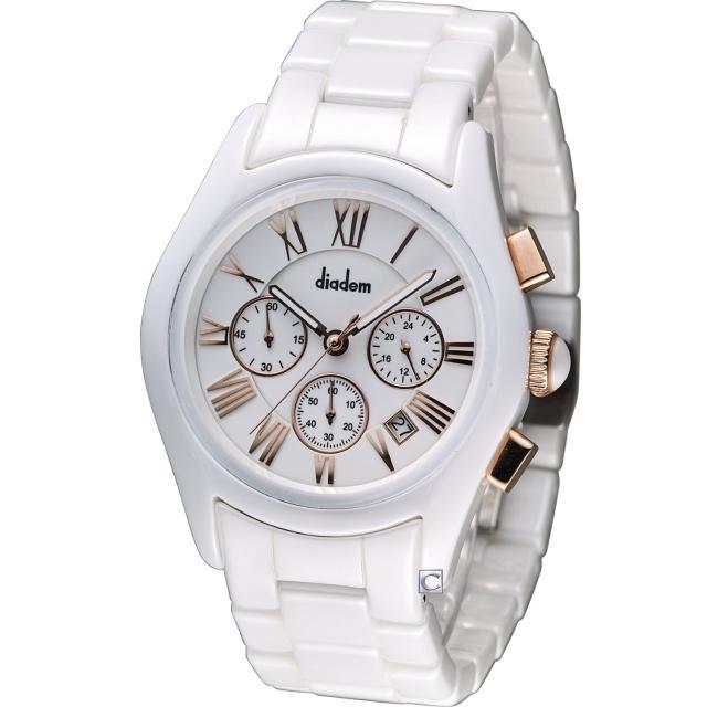 【Diadem】黛亞登 時尚紳士陶瓷計時腕錶(2D1407-621RG-W)