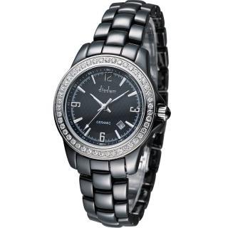 Diadem 黛亞登 菱格紋晶鑽陶瓷腕錶 - 黑/35mm (8D1407-551DD-D)