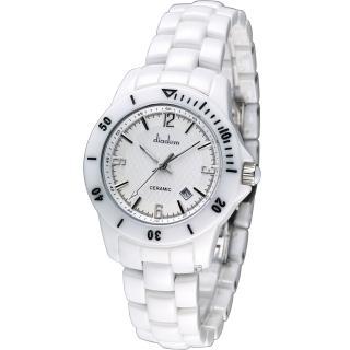 Diadem 黛亞登 菱格紋雅緻白陶瓷腕錶 - 銀/35mm (8D1407-551S-W)