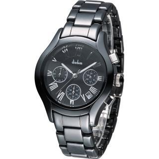 Diadem 黛亞登 羅馬三眼計時陶瓷腕錶 - 黑/38mm (2D1407-521D-D)