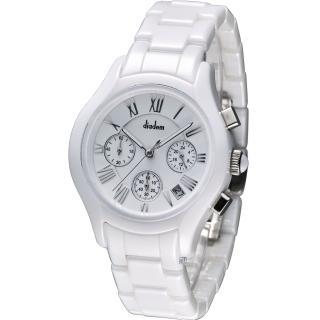 Diadem 黛亞登 羅馬三眼計時陶瓷腕錶 - 白/38mm (2D1407-521S-W)
